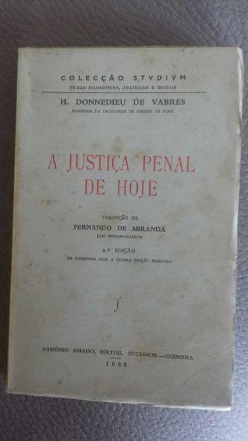 A Justiça Penal de Hoje - H. Donnedieu de Vabres - 1962