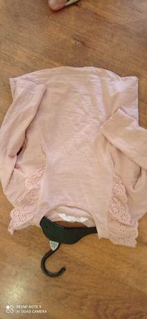 Bluzka bluzeczka H&M 86/92 pudrowy róż dziewczynka falbanka koronka