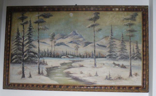 Obraz olejny na płótnie Pejzaż zimowy w górach