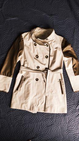 Płaszcz płaszczyk wiosenny elegancki trencz skórzane wstawki