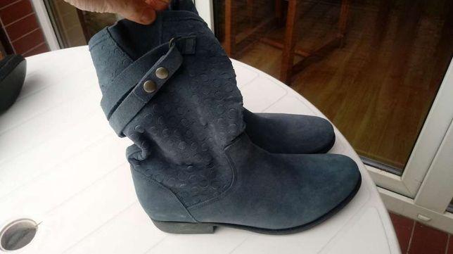 Nowe szaro niebieskie buty botki kozaczki