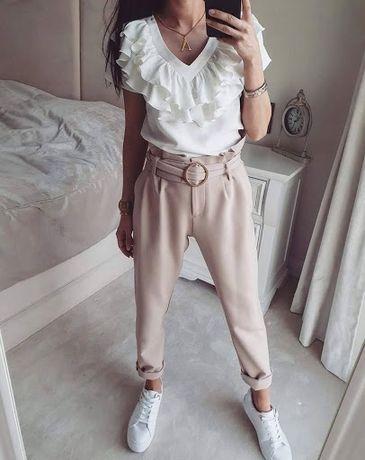 Beżowe spodnie z wysokim stanem + pasek 36s