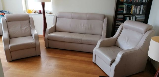 Komplet wypoczynkowy Sofa + 2 fotele. Skóra, funkcja spania.