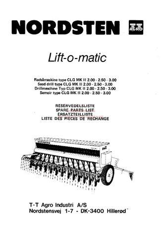 Katalog części siewnika Nordsten Lift -o-matic