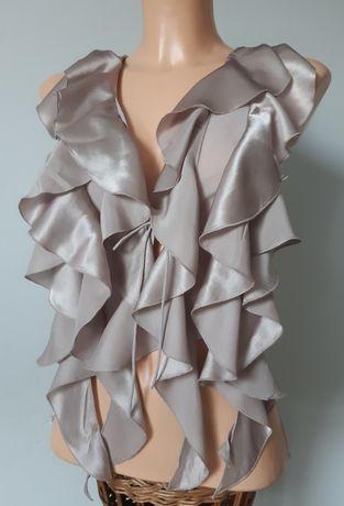Top beżowy jedwab krótka bluzka hiszpanka wiązana