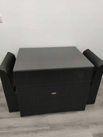 Hespéride - mesa com tampo de vidro e 2 cadeiras de exterior