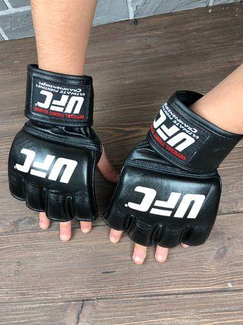 Кожаные битки UFC original перчатки клетка чёрные мужские