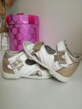 Buciki sandały złoto białe kornecki roz 21 14cm