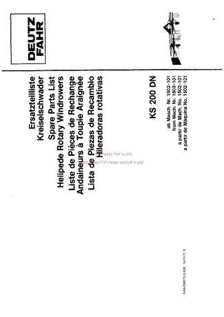 Katalog części zgrabiarka DEUTZ FAHR KS 200/DN