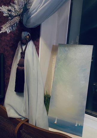 Картина маслом маслянная живопись яхты парусники море