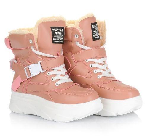 Розовые женские ботинки кроссовки зима зимняя обувь 36 37 38 40