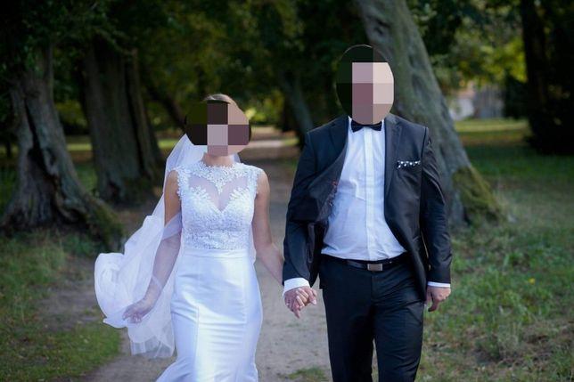 Suknia ślubna 36/38 z welonem i butami