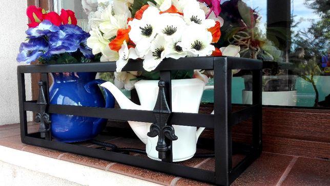 Kwietnik kuty stalowy ręcznie wykonany kwiaty donice skrzynki osłony