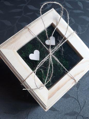 Pudełko na obrączki drewno rustykalne