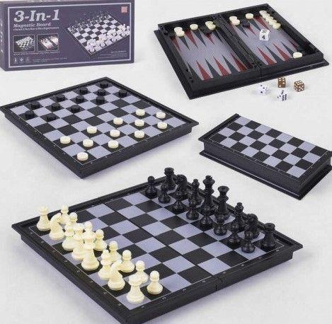 Шахматы магнитные, QX 56810, 3в1, нарды, шашки, игра настольная