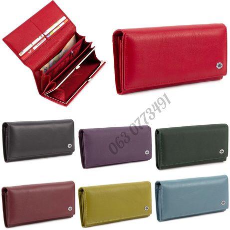 Красный кошелёк клат в классическом стиле из натуральной кожи ST Leath