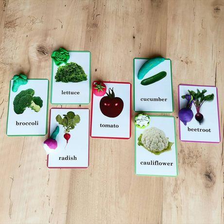 Miniatury Montessori, owoce i warzywa, pomoc język angielski