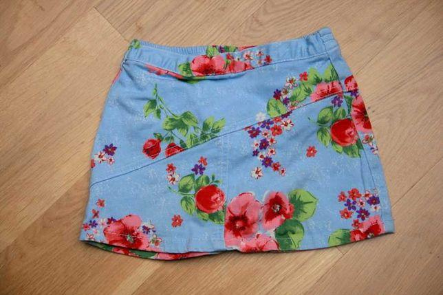 Spódniczka z majteczkami body, niebieska w kwiaty r. 92-98