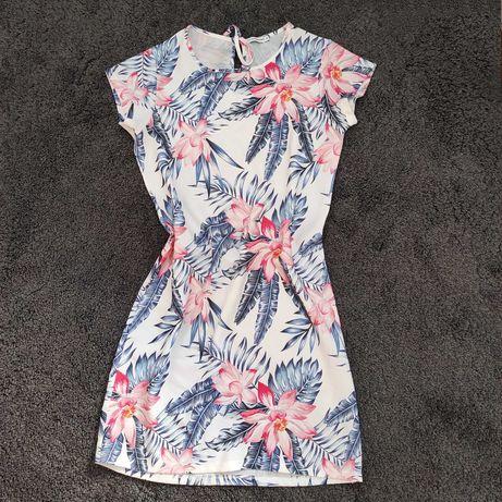 Vestido Florido Jersey&Cardigan Médio Novo