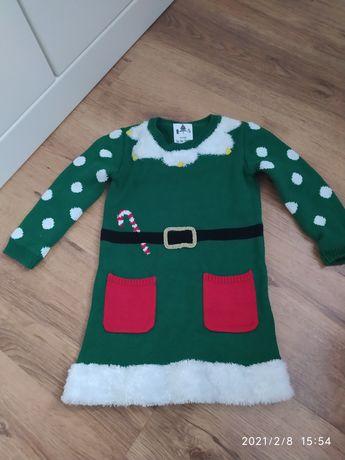 Świateczna zielona sukienka elf pomocnica Mikołaja 86cm George