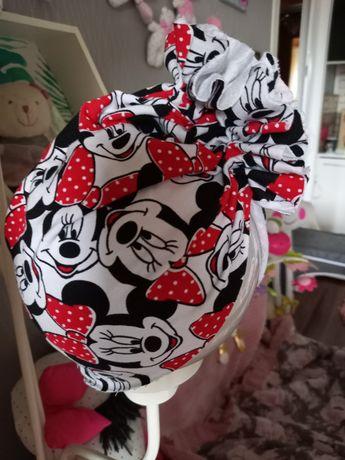 komplet handmade Minnie turban chusta zestaw czapka