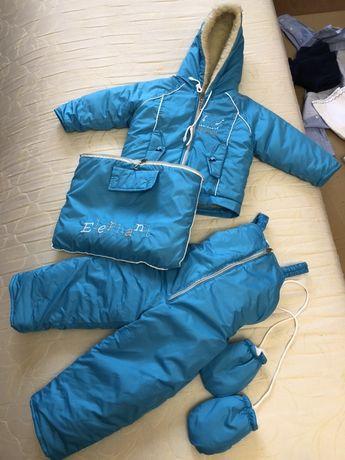 Новый зимний комбинезон, курточка, конверт р.80