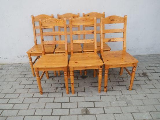 Komplet 6 krzeseł sosnowych całe drewniane 218