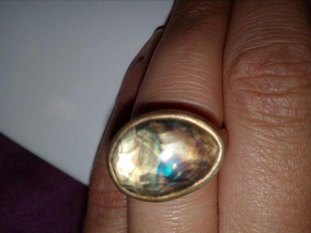 Pierścionek srebro oksydowane złocony kwarc 925