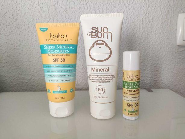 Protetor Solar Mineral Babo Botanicals, Sun Bum SPF 50 e 30 Reef Safe