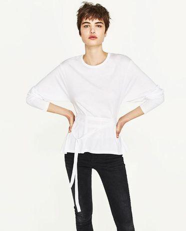 Натуральная белоснежная блуза Zara
