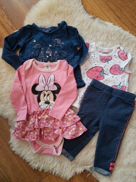 Ubrania zestaw rozmiar 6-9 body, spodnie, bluzka