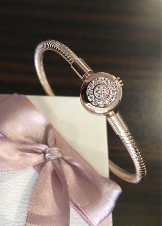 Bransoletka wężowy splot szywna rose gold styl Pandora