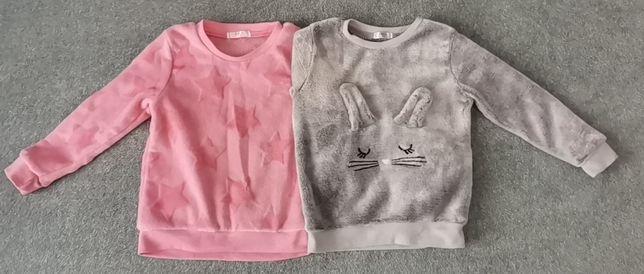 Bluzy polarkowe, dziewczęce, różowa, szara 2szt. r. 104-110