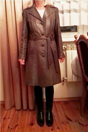 Płaszcz jesienny z naturalnej miękkiej skóry roz. 42 / 44 jasny brąz