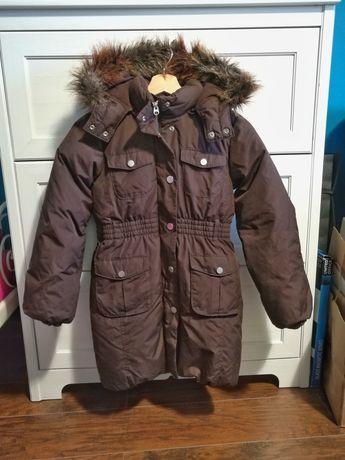 Długa brązowa zimowa kurtka dziewczęca z kapturem Gap