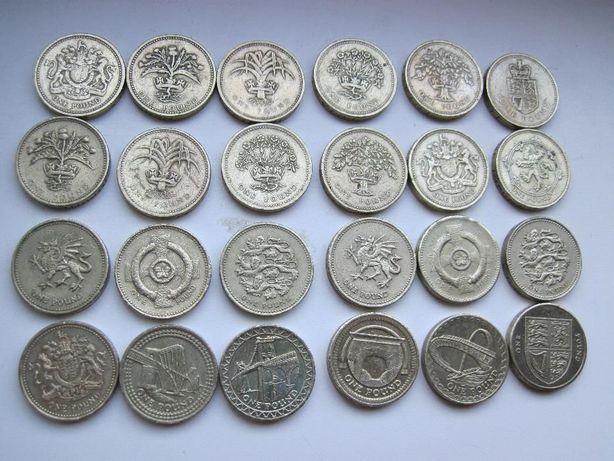 Монеты 1 фунт, 2Фунта Великобритании с 1983 по 2017 год, Quarterdollar