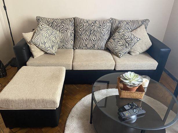 Sofá 3 lugares mais sofa de apoio