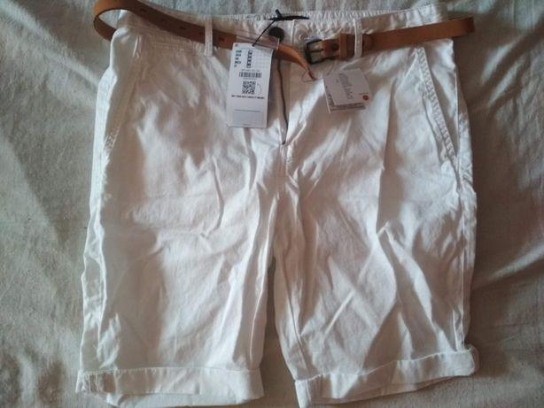 Spodnie chinos, krótkie, białe z paskiem - Bershka - Nowe
