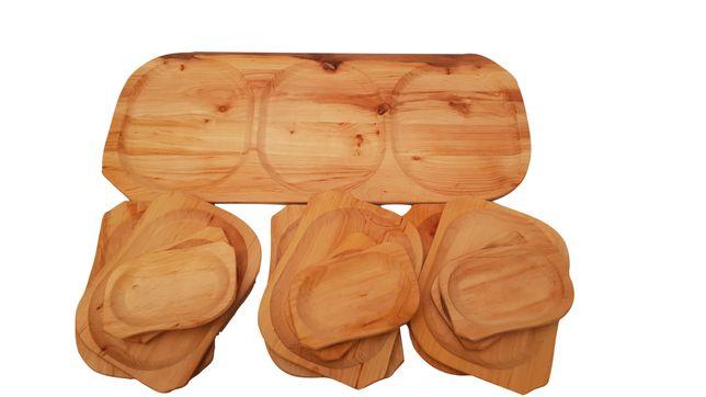 Zestaw drewniane talerze MAX + łyżka drewniana GRATIS