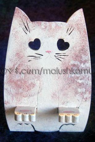 Подставка для телефона деревянная Lover Cat – handmade