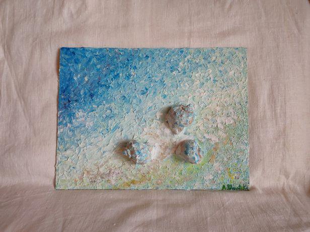 Интерьерная 3 Д картина, декор, абстракция, море, пляж, ракушки