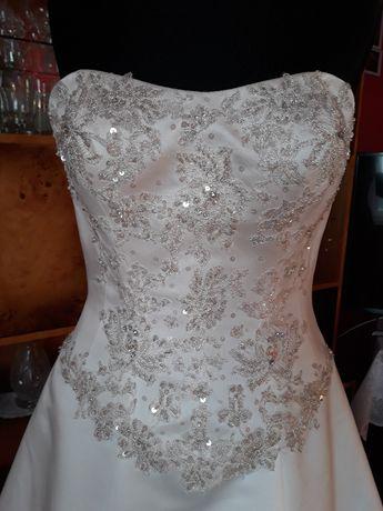 Suknia ślubna ecru cudowny gorset