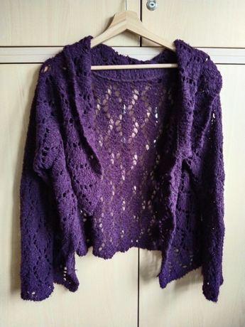 Fioletowy ażurowy sweter na jesień M