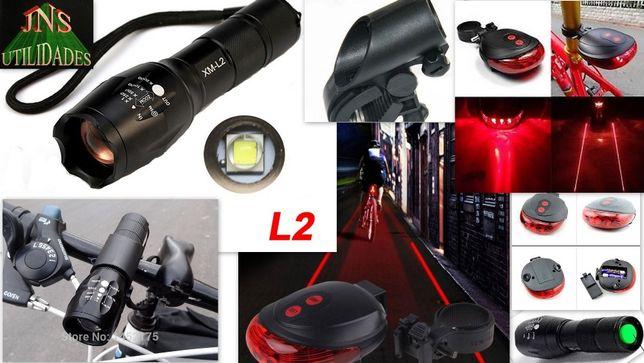 Lanterna LED L2 com suporte + Lanterna vermelha com 2 lasers