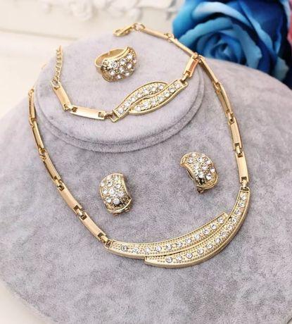 """""""Swarovski""""- niesamowicie lśniące komplety złotej (14k) biżuterii;"""