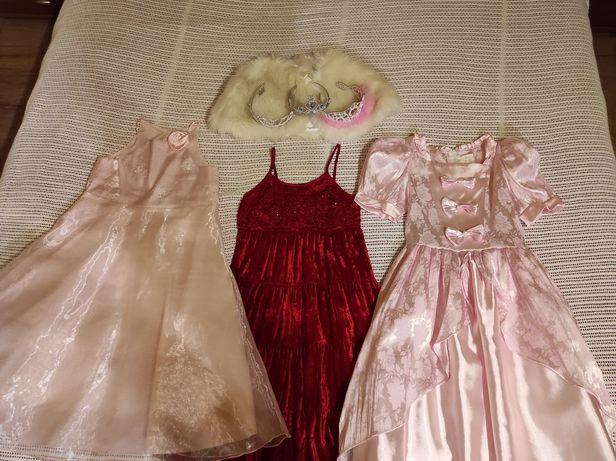 3x Sukienka + diadem 128, 134 i 140 strój karnawałowy i nie tylko