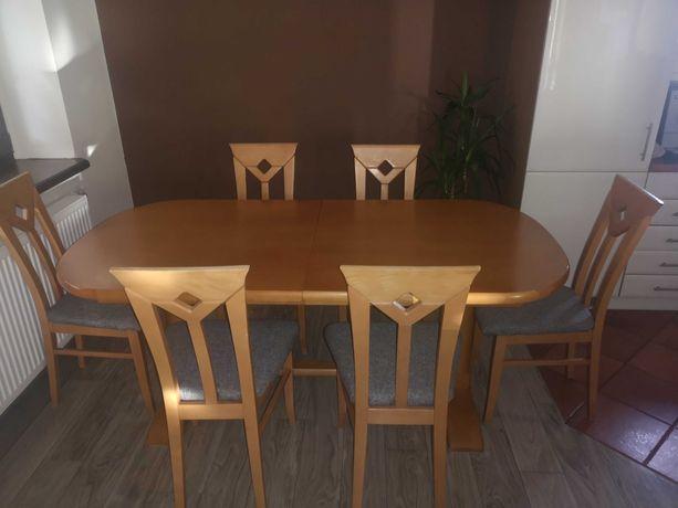 Solidny stół drewniany rozkładany  +6 krzeseł.