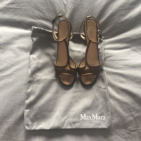 Buty sandały na obcasie Max Mara stare złoto, okazja!