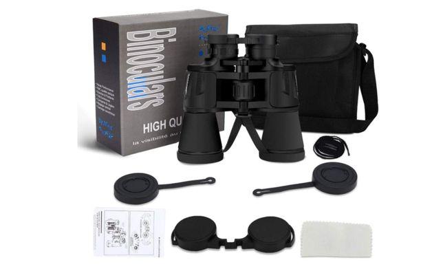 Binóculos 10x50 prisma HD com estojo e corda Novo campismo