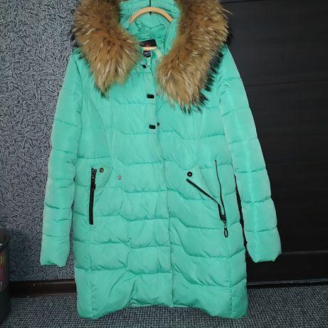 Пуховик пальто куртка парка пальто зимнее с натуральным мехом
